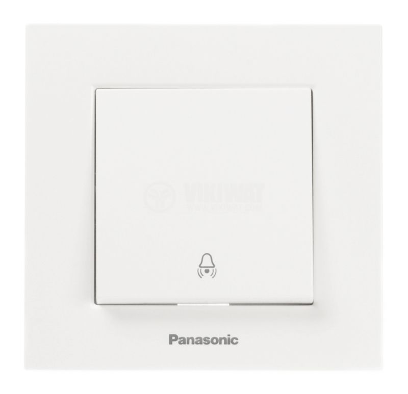 Electric switch with bell symbol, Panasonic, 250 VAC, 10A, white, push button - 2