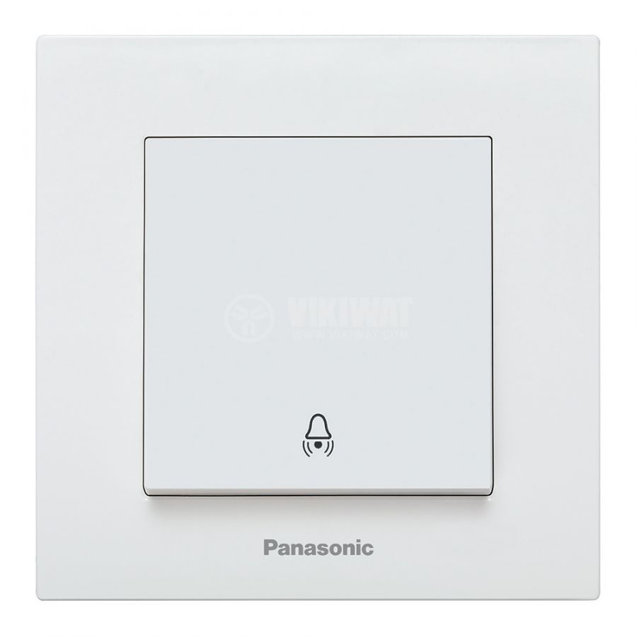 Electric switch with bell symbol, Karre Plus, Panasonic, 250 VAC, 10A, white, push button, WKTC0019-2WH - 1