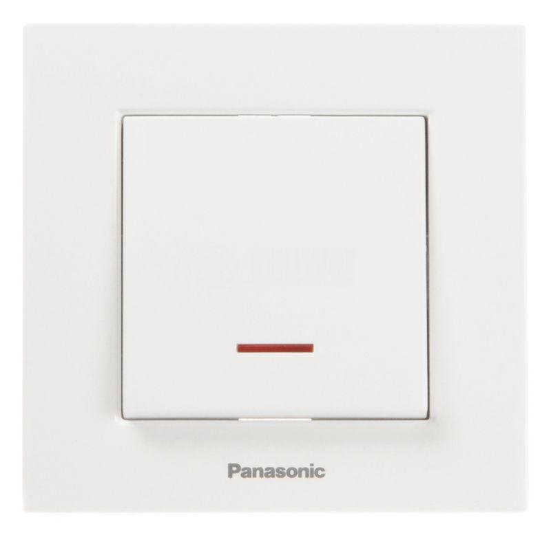 Single electrical switch, Panasonic, circuit 1, 10A, 250VAC, white, illuminated - 2