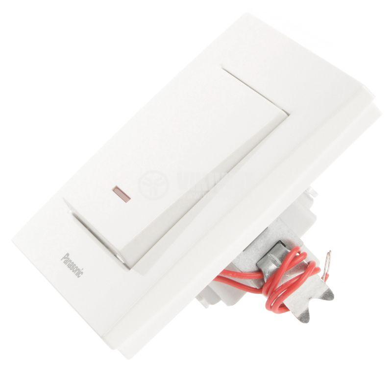Single electrical switch, Panasonic, circuit 1, 10A, 250VAC, white, illuminated - 3