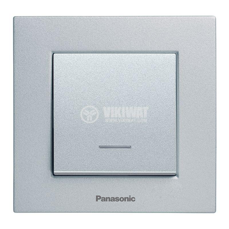 One-way Switch, illuminated, Karre Plus, Panasonic, 10A, 250VAC, silver, WKTT0002-2SL, mechanism+rocker - 4