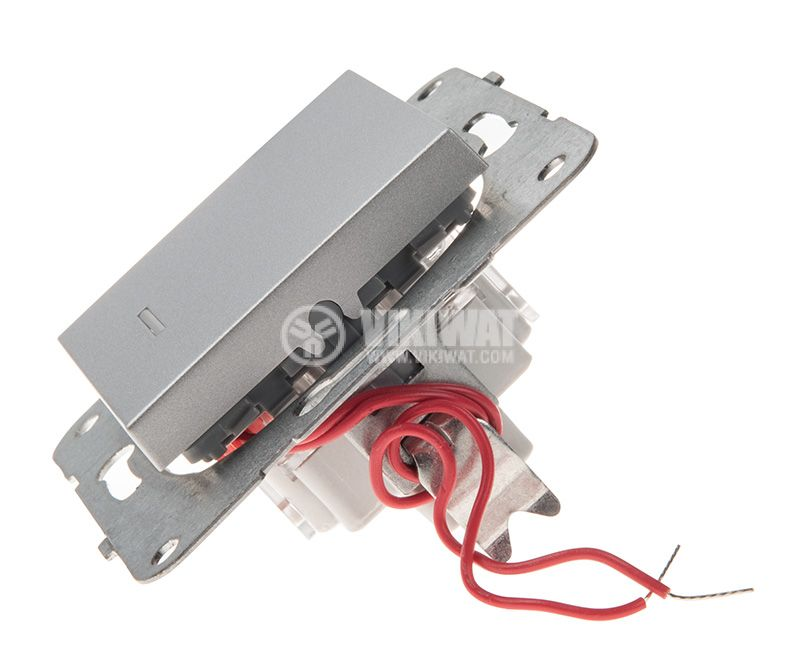 One-way Switch, illuminated, Karre Plus, Panasonic, 10A, 250VAC, silver, WKTT0002-2SL, mechanism+rocker - 2