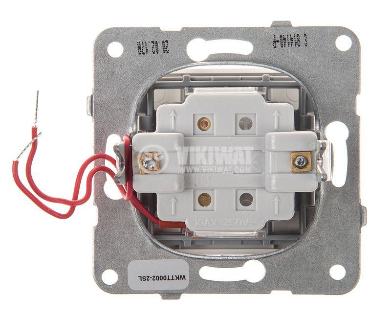One-way Switch, illuminated, Karre Plus, Panasonic, 10A, 250VAC, silver, WKTT0002-2SL, mechanism+rocker - 3