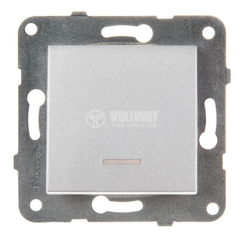 One-way Switch, illuminated, Karre Plus, Panasonic, 10A, 250VAC, silver, WKTT0002-2SL, mechanism+rocker - 1