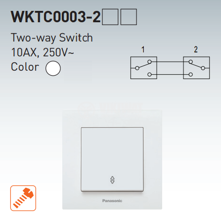 Two-way switch, complete, Karre Plus, Panasonic, 10A, 250VAC, white, WKTC0003-2WH - 7