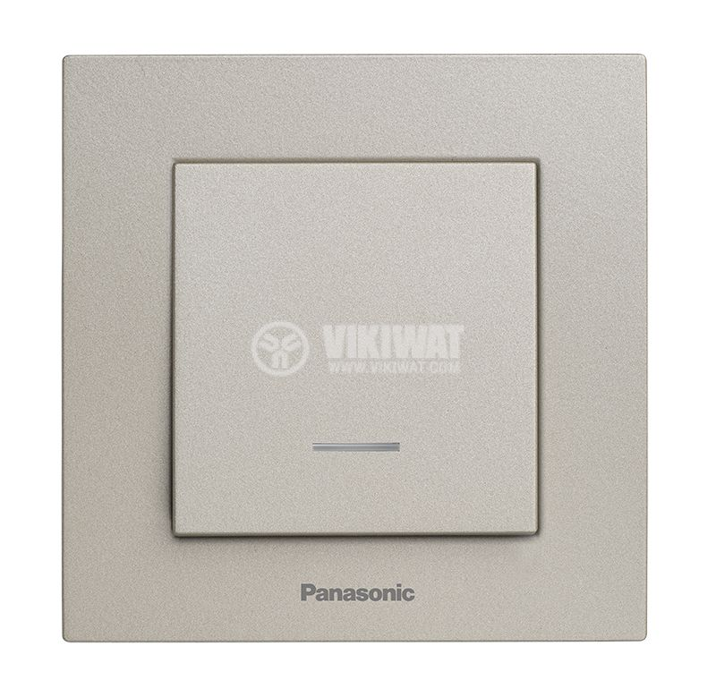 One-way Switch, illuminated, Karre Plus, Panasonic, 10A, 250VAC, bronze, WKTT0002-2BR, mechanism+rocker