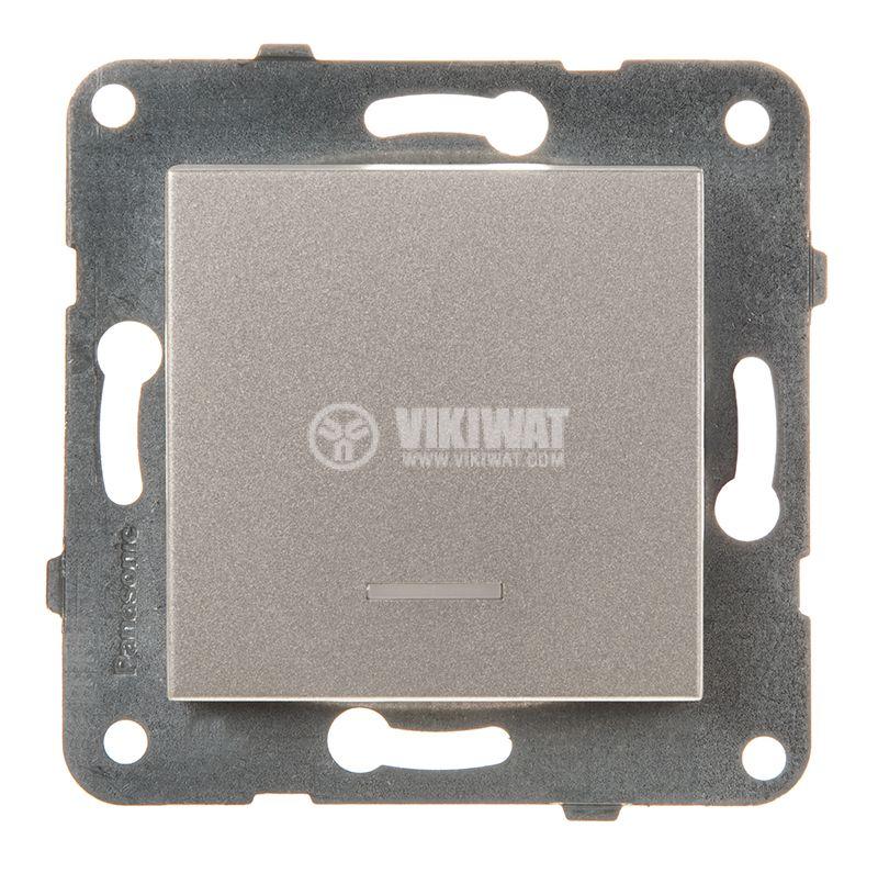 One-way Switch, illuminated, Karre Plus, Panasonic, 10A, 250VAC, bronze, WKTT0002-2BR, mechanism+rocker - 1