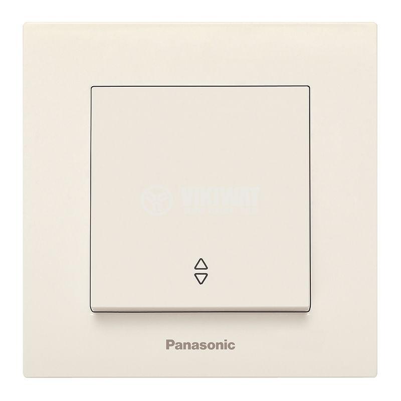 Electrical two-way switch, complete, Karre Plus, Panasonic, circuit 6, 10A, 250VAC, beige, WKTC0003-2BG - 1