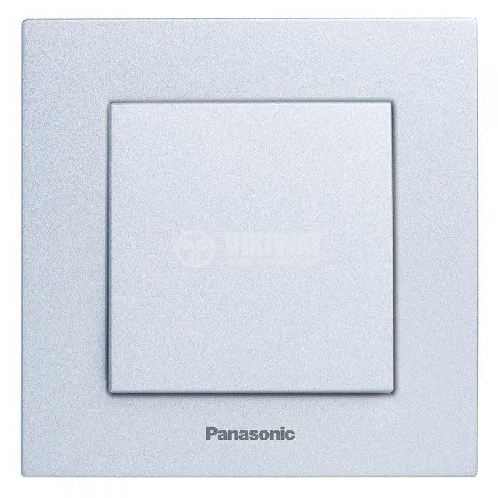 One-way Switch, Karre Plus, Panasonic, 10A, 250VAC, silver, WKTT0001-2SL, mechanism+rocker - 2