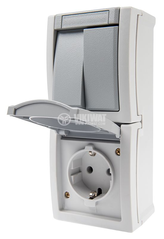 Electrical switch, double, circuit 5, 10A, 250VAC and electrical contact, 16A, 250VAC, IP54 - 5