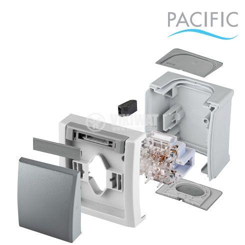Eлектрически ключ, двоен, Pacific, Panasonic, схема 5, 10А, 250VAC и eлектрически контакт, 16A, 250VAC, IP54, сив - 6