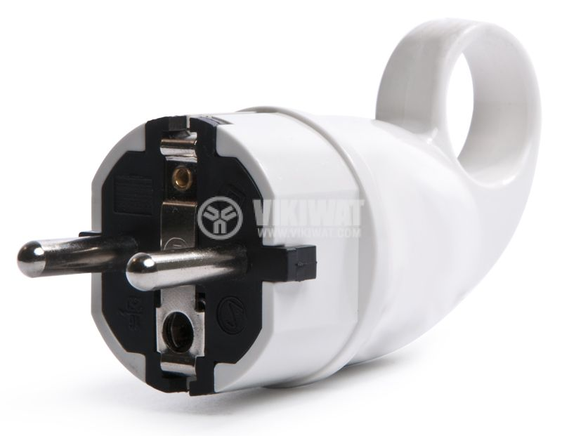 Electrical Schuko Plug, 220VAC, 16А, PVC, 90°, white, for UPS - 1