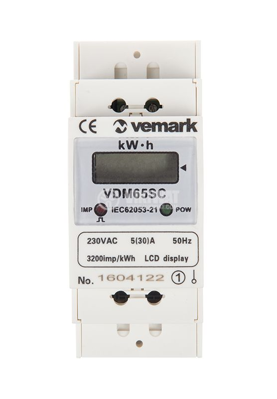Електромер еднофазен, еднотарифен VDM65SC, 5(30 А) LCD, за DIN шина, цифров, директен, 230 VAC - 1
