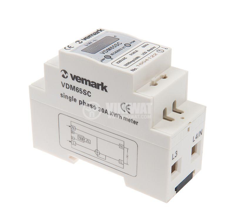 Електромер еднофазен, еднотарифен VDM65SC, 5(30 А) LCD, за DIN шина, цифров, директен, 230 VAC - 2