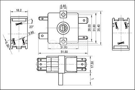 Electric switch, Four Position, 6-pin - 2