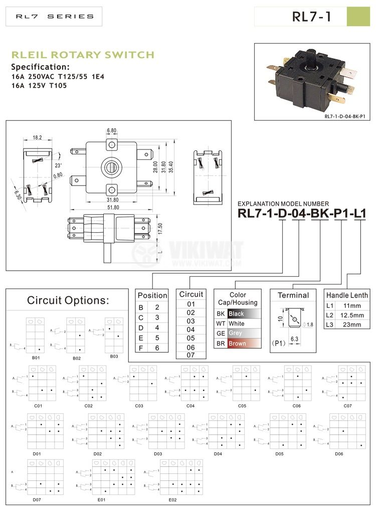 Electric switch, Four Position, 6-pin - 3