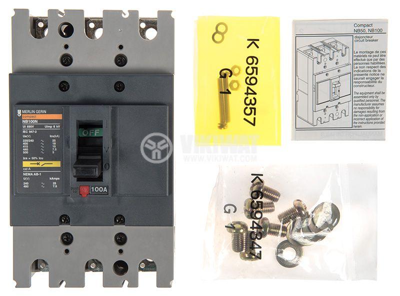 Автоматичен прекъсвач NB100N, 3P, 100A, 690VAC - 5