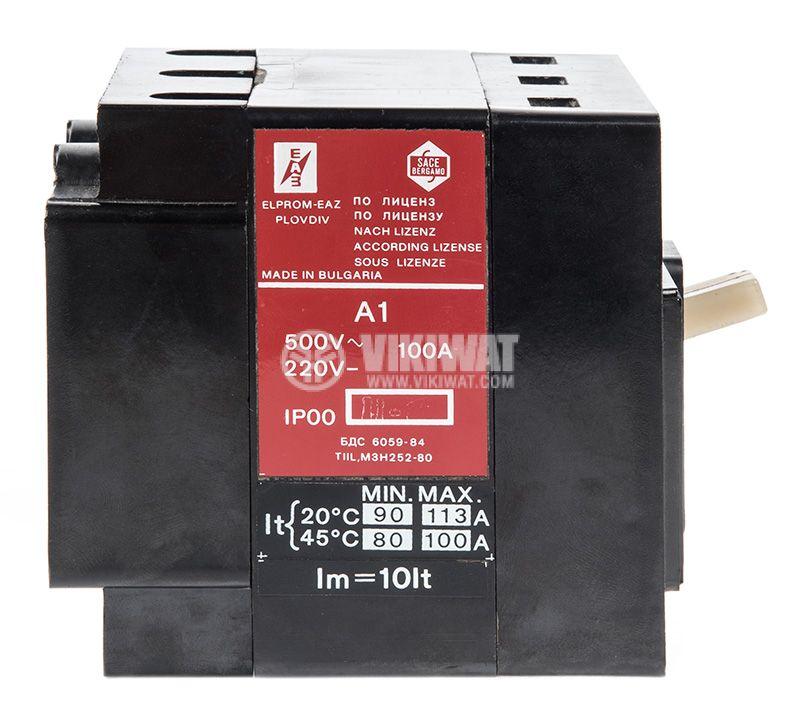Автоматичен прекъсвач, А-1, 3P, 100А, 500VAC, 220VDC - 2