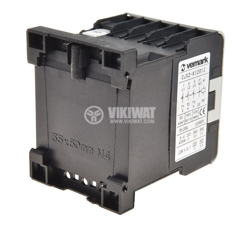 Контактор, трифазен, бобина 24VDC, 3PST - 3NO, 12A, CJX2-K1201Z, NC - 3