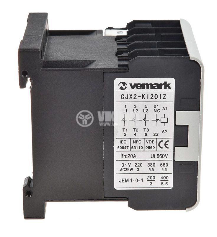 Контактор, трифазен, бобина 24VDC, 3PST - 3NO, 12A, CJX2-K1201Z, NC - 4