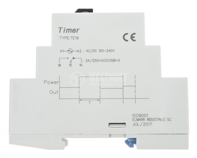 Time relay, star, triangle, TE-19, 100-240 VAC, 3A, 0.1s - 600s - 2