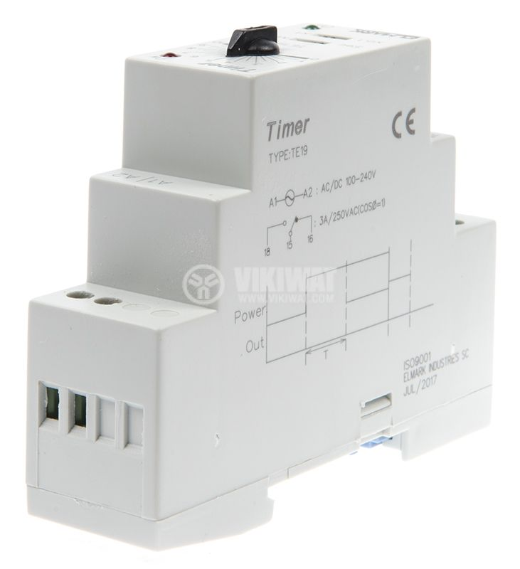 Time relay, star, triangle, TE-19, 100-240 VAC, 3A, 0.1s - 600s - 4