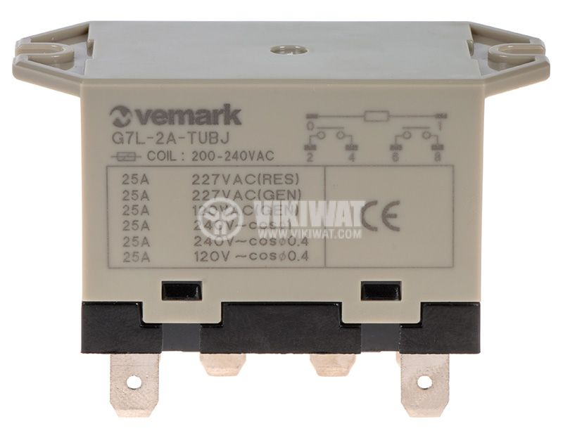 Реле, електромагнитно, аналогово, G7L-2P-TUBJ-CB, бобина 220VAC, 2NO, 277VAC, 25A - 1