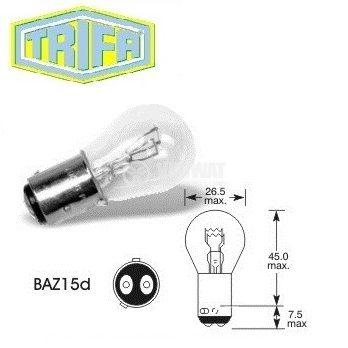 Автомобилна лампа с нажежаема жичка, P21/4W, 12 V, 21/4 W, BAZ15D