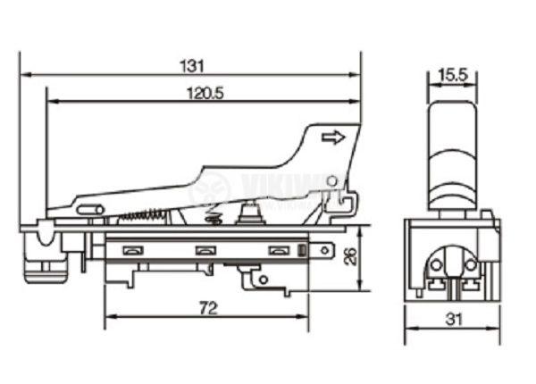 Електрически прекъсвач (ключ) за ръчни електроинструменти FA2-8/2W1 8A/250VAC 2NO - 3