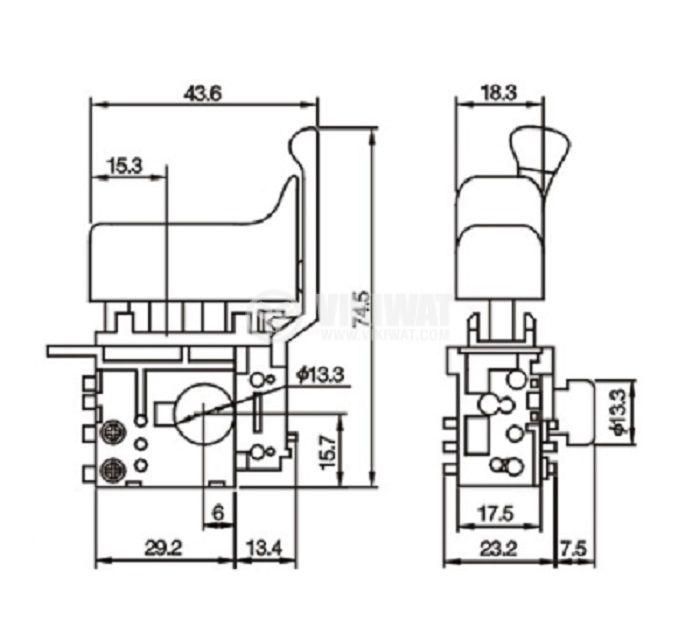Електрически прекъсвач (ключ), регулатор на обороти и реверс за ръчни електроинструменти FA2-6/1BEK 6A/250VAC - 3
