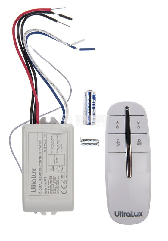 RF remote control MKRF2, with two control channels, 220VAC, range 30m - 5