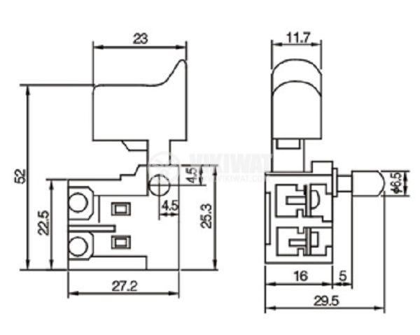 Електрически прекъсвач (ключ) за ръчни електроинструменти FA2-6/1B-11 6A/250VAC 1NO - 3