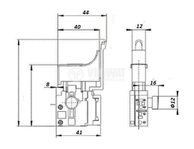 Електрически прекъсвач (ключ), регулатор на обороти и реверс за ръчни електроинструменти F2-4/1BE(E) 4A/250VAC - 2
