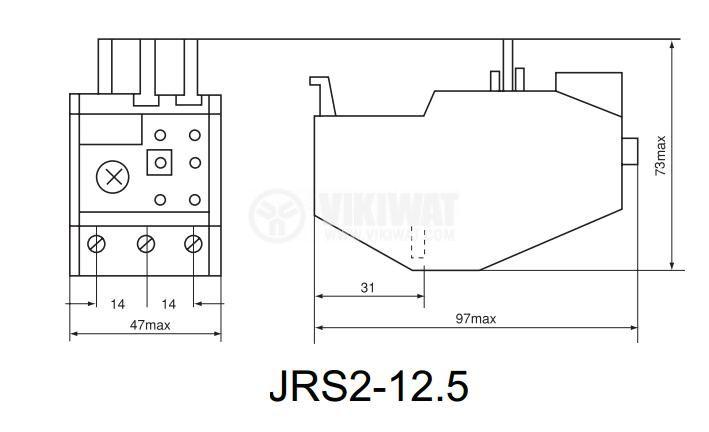 Термично реле, JRS2-12.5, трифазно, 2.5-4 A, 2PST - NO+NC, 10 A, 380 VAC - 2