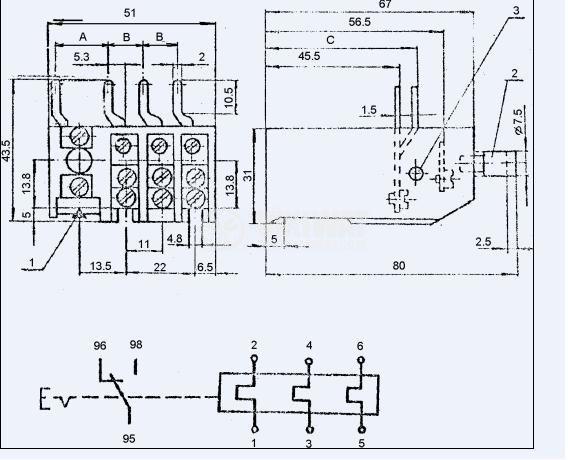 Термично реле, РТБ-0, трифазно, 3-6 A, SPDT - NO+NC, 1 A, 380 VAC - 3
