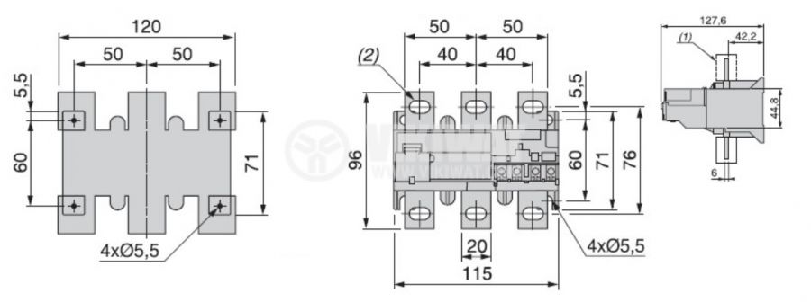 Thermal relay, VR28-200 / F5367, three-phase,  60-100 A, SPST - NO+NC, 6A/380VAC - 2