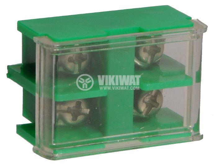 Редова клема, двуредова, JF5-2.5/2, 2.5mm2, 25A, 660V, зелена - 1