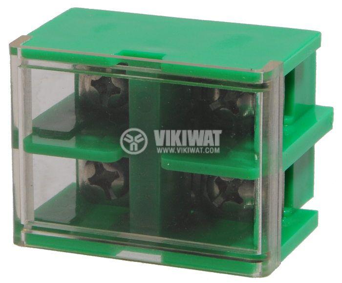 Terminal block JF5-10/2 10mm2, 60A, 660V, green, plastic - 1