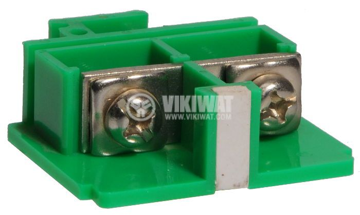 Terminal block JF5-10/1 10mm2, 60A, 660V, green, plastic - 1