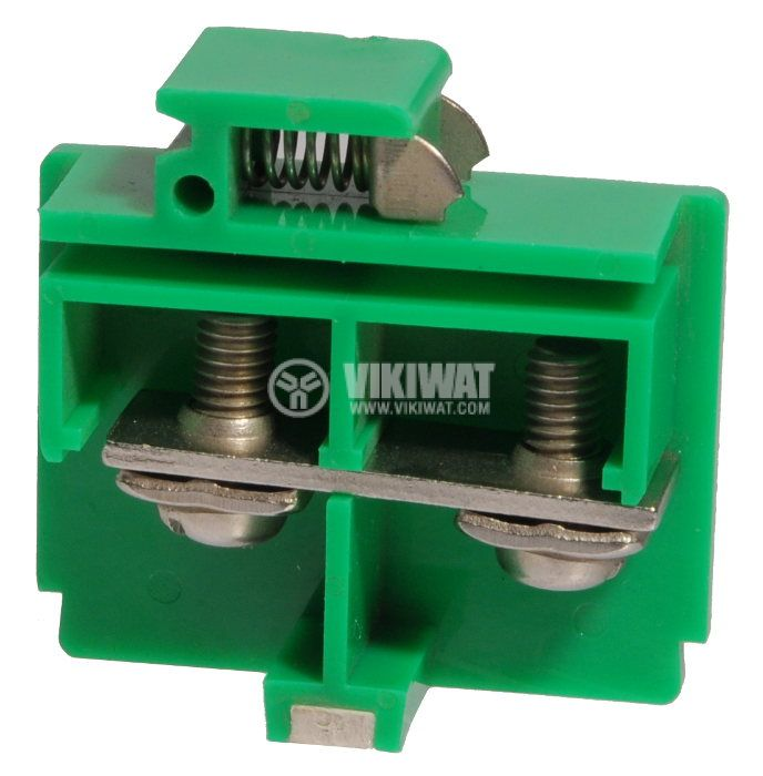 Terminal block JF5-10/1 10mm2, 60A, 660V, green, plastic - 2