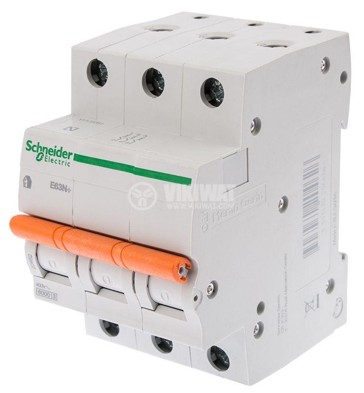 Circuit breaker three-poles 3x50A E63N BG DIN rail curve C - 1