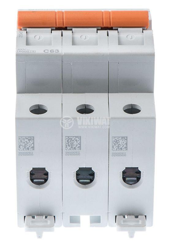 Circuit breaker three-poles 3x63A E63N BG DIN rail curve C - 3