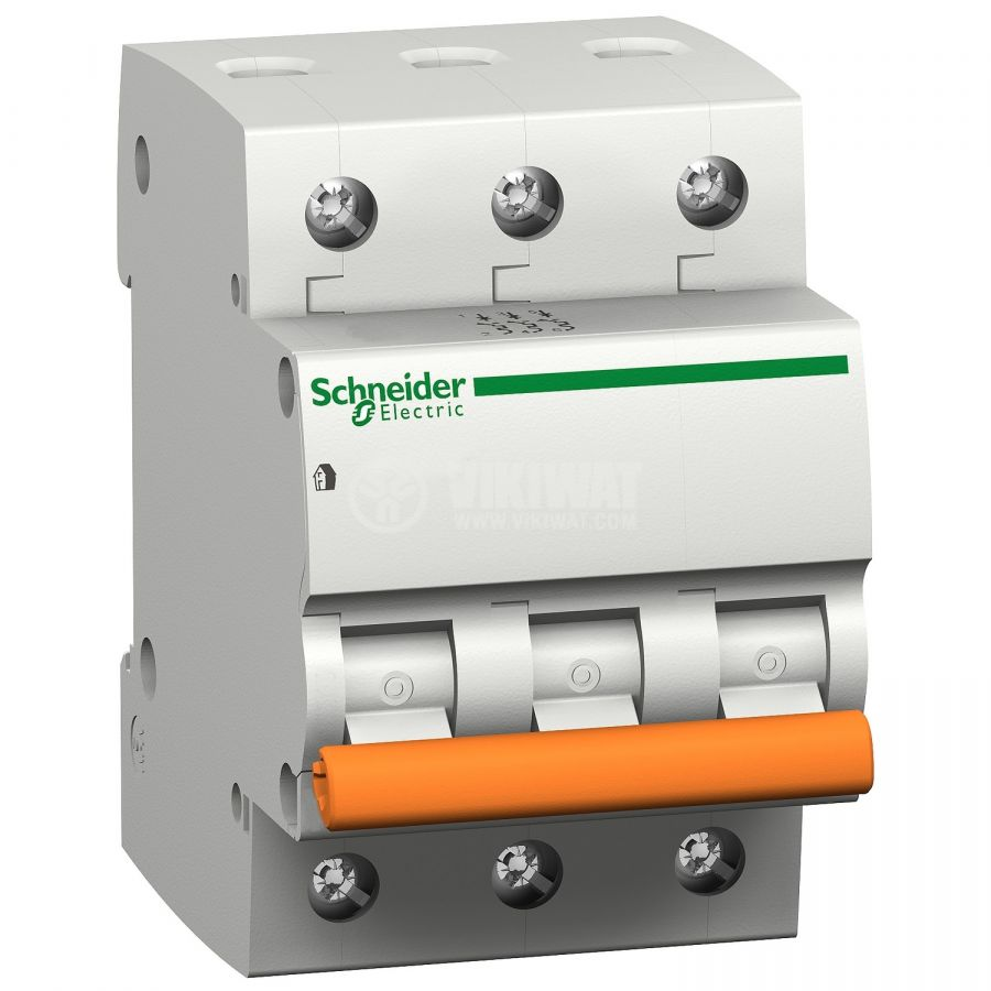 Предпазител, автоматичен, триполюсен, 3x10A, E63N BG, C крива, DIN шина, 20457, Schneider - 1