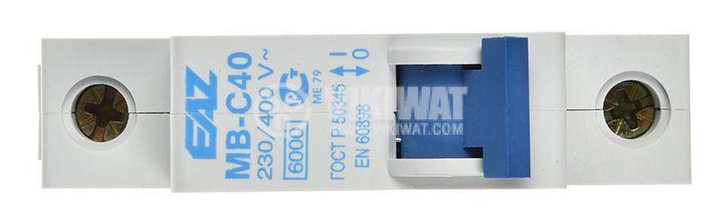 Предпазител, автоматичен, еднополюсен, 1x40A, EAZ MB-C40, C крива, DIN шина - 5