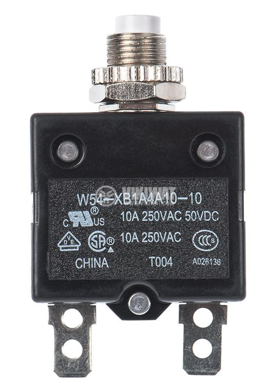Resettable Thermal Circuit Breaker ,W54-XB1A4A10-10, 10 A , 250 VAC - 1