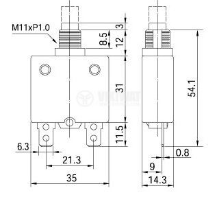 Circuit breaker, one-pole, ZE-700S-15, 15A / 250VAC - 4