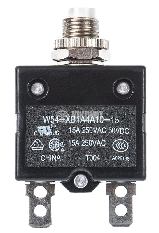 Resettable Thermal Circuit Breaker , W54-XB1A4A10-15, 15A , 250 VAC - 1