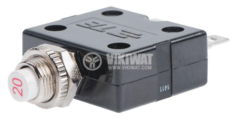 Токова защита, еднополюсна, W54-XB1A4A10-20, 20A , 250 VAC - 2
