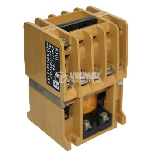 Контактор, трифазен, бобина 220VАC, 3PST - 3NO, 16A, К16E, 2NO + 2NC