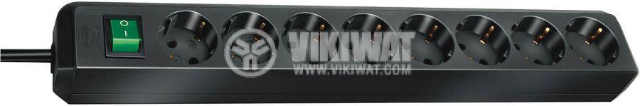 Разклонител 8-ца, 3m кабел, черен с ключ